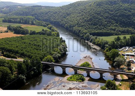 River dordogne from chateau de Castelnaud, France
