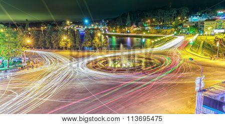 Roundabout intersections Dalat night market