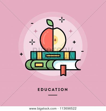 Education, Flat Design Thin Line Banner