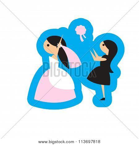 Flat web icon on white background - bride throws bouquet