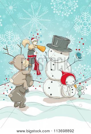 Little cute animals - bear, reindeer, penguin and squirrel are building Snowmen.