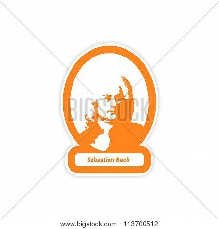 paper sticker on white background Sebastian Bach