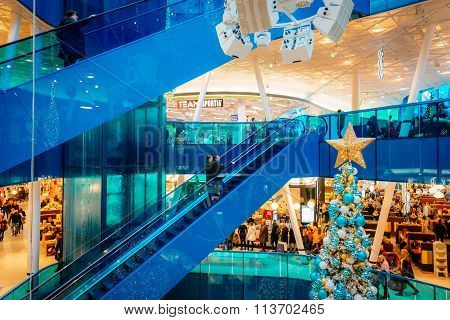 Malmo, Sweden - January 2, 2015: Emporia, Modern Shopping Center, Is Visited By Many People During C