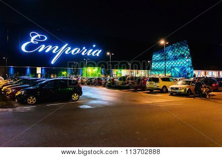 Malmo, Sweden - January 2, 2015: Exterior Of Emporia, Modern Shopping Center, At Nght In Malmo, Swed
