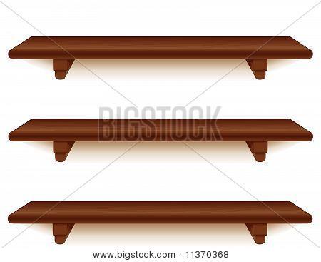 Mahogany Wood Shelves, Horizontal