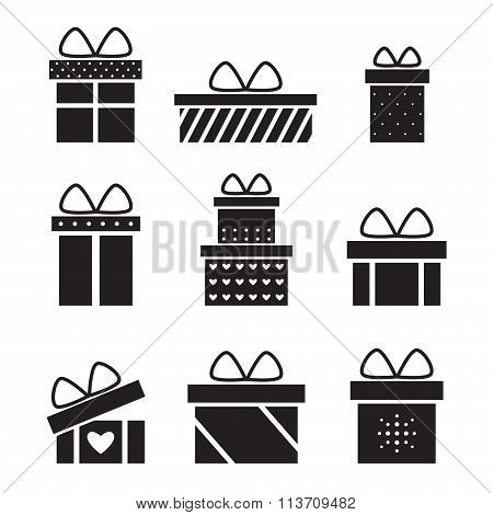 Present box isolated black silhouette icons on white background.