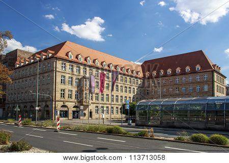 NUREMBERG, GERMANY - AUGUST 23, 2015: The Sigmund Schuckert building in Nuremberg is located right beside the Opera
