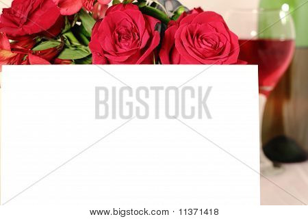 Valentines Day Invitation And Roses