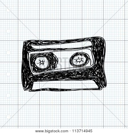 Simple Doodle Of A Cassette
