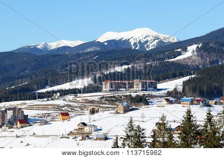 Bukovel, Ukraine - February 17: The Radisson Hotel Is On Slope In Bukovel. It Is The Largest Ski Res