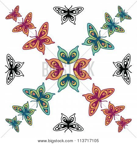 Butterfly pattern orange, red, green