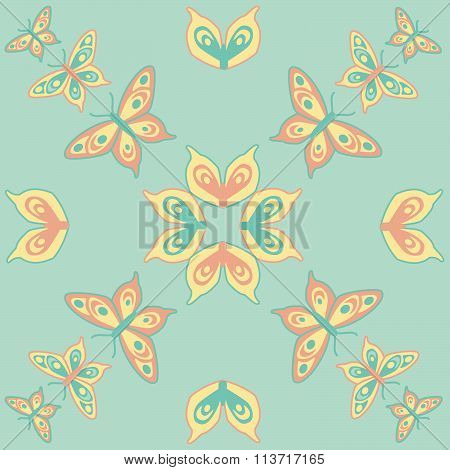 Butterfly seamless pattern mint orange