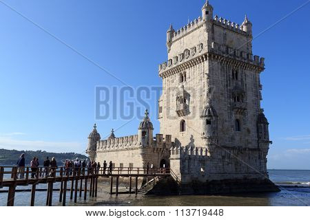 Tourist attraction Belem Tower in Lisbon Portugal