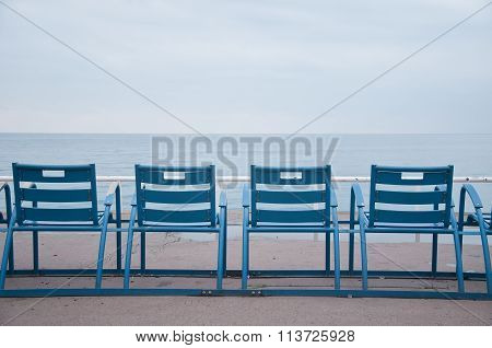 Chairs Along The Promenade In Nice, French Riviera, During The Winter