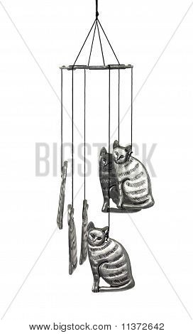 Cat wind chime hanging against a white background. poster
