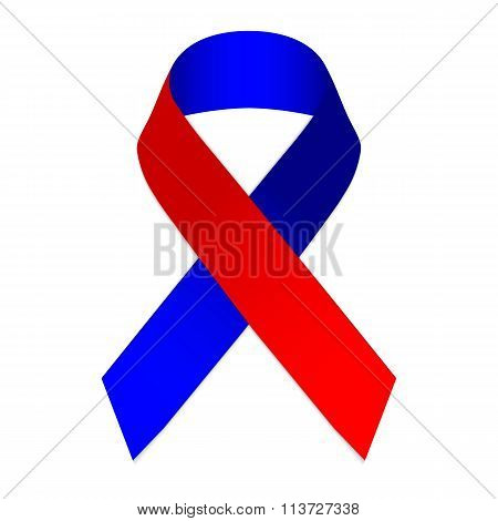 Red Blue Ribbon Symbol Of The Memory Of The 2010 Earthquake In Haiti
