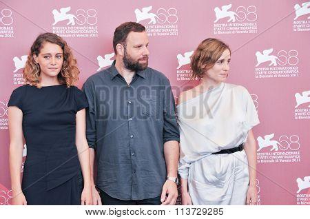 Actors Aggeliki Papoulia Ariane Labed and Yorgos Lanthimo