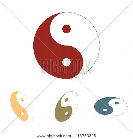 Ying yang symbol of harmony and balance icon  set. Isometric eff