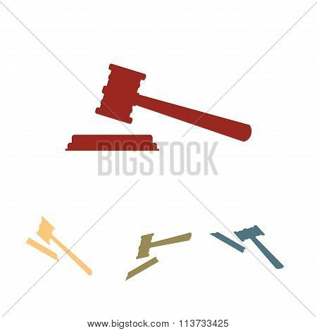 Justice hammer vector icon  set. Isometric effect