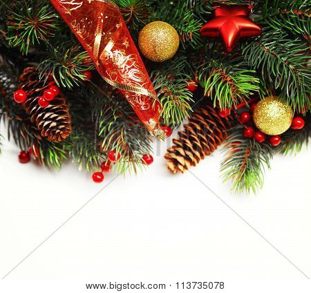 Christmas Background. Christmas Boarder With Fir Tree Branch Wit