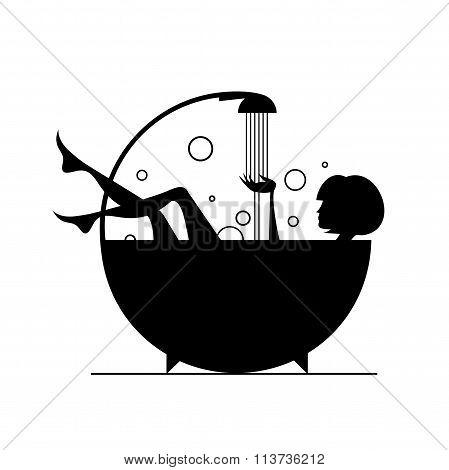 Vector illustration: girls in the bath.