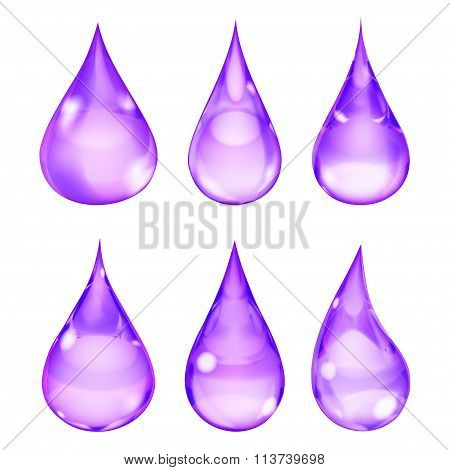 Set of opaque drops in violet colors on white background poster