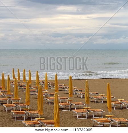 Sea Beach On Murky Day
