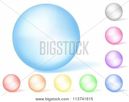 Set of multicolored opaque spheres on white background poster