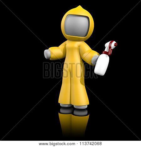 3D Lady Bio Hazard Cleaning On Dark.