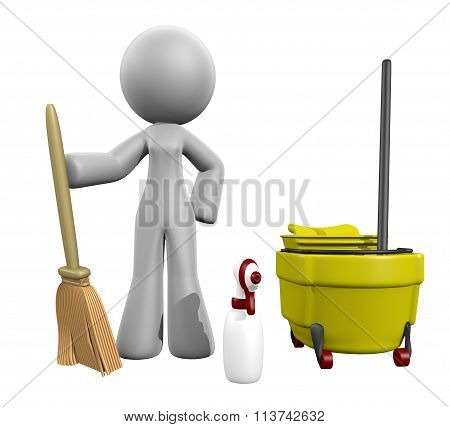 3D Lady Broom, Mop, Spray  - Cleaning Services