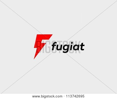 Abstract letter F logo. Dynamic unusual font. Universal fast speed fire moving quick energy icon.
