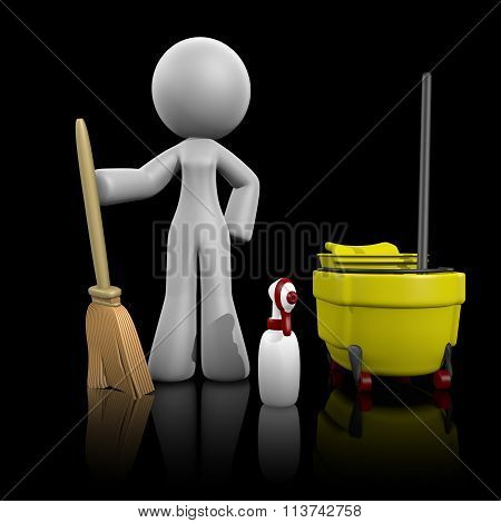 3D Lady Broom, Mop, Spray  - Cleaning Services On Dark