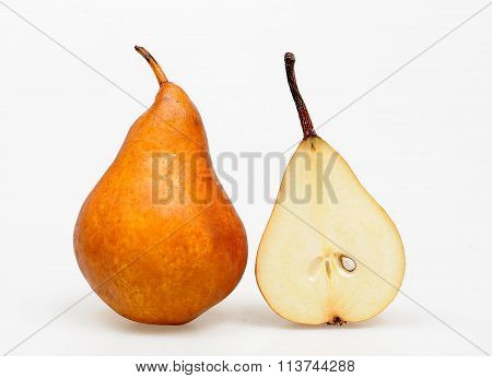 Ripe  Bosc Pear whole and slieced