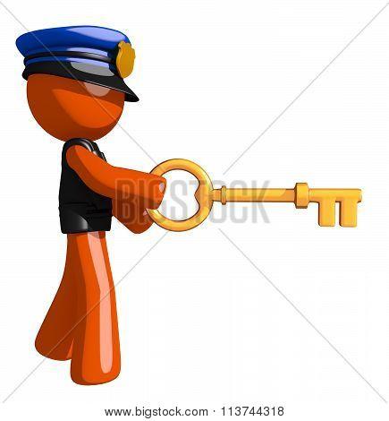 Orange Man Police Officer Inserting Key