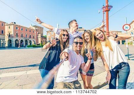 Group Of People Taking Selfie