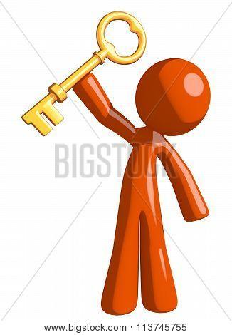 Orange Man Holding Up Key To Success