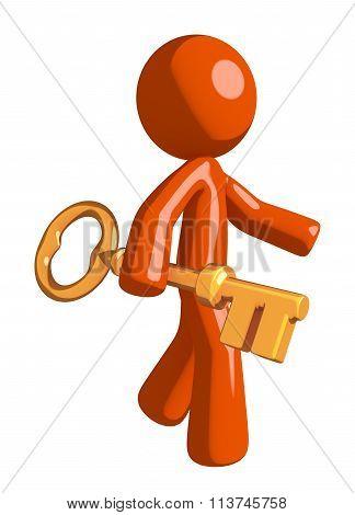 Orange Man Walking With Gold Key