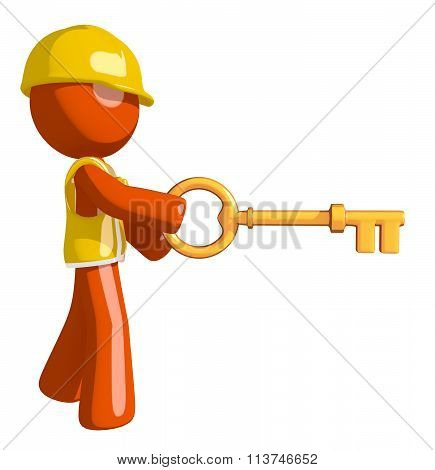 Orange Man Construction Worker  Inserting Key