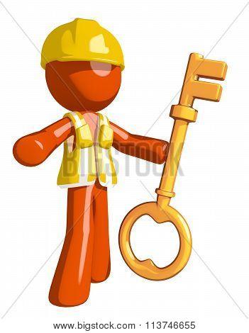 Orange Man Construction Worker  Holding Key