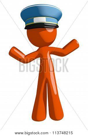 Orange Man Postal Mail Worker Apathetic Or Confused