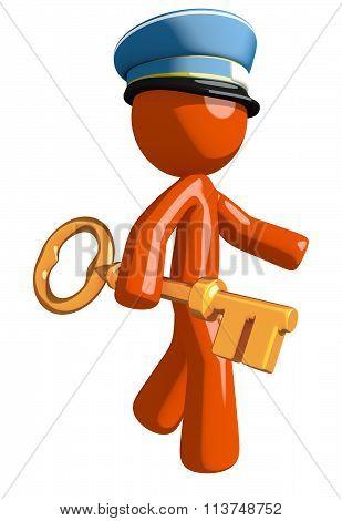 Orange Man Postal Mail Worker Walking With Gold Key