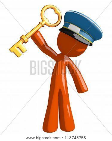 Orange Man Postal Mail Worker Holding Up Key To Success
