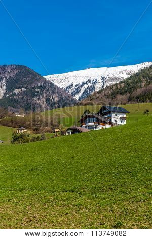 View Of Remote Cottage Near Wolfganag Lake And Grosser Hollkogel In The Background-Salzkammergut AustriaEurope poster