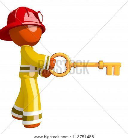 Orange Man Firefighter Using Oversized Gold Key