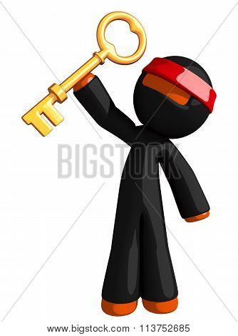 Orange Man Ninja Warrior With Large Gold Key