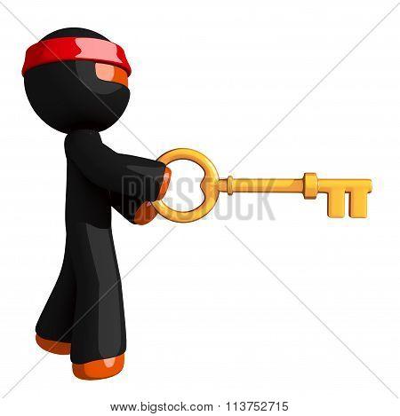 Orange Man Ninja Warrior Using  Large Gold Key