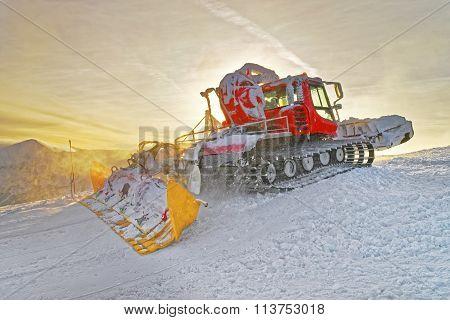 Ratrack At Work On Kasprowy Wierch In Zakopane In The Winter Time