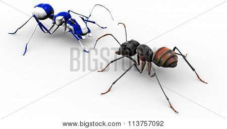 Ant Talking To Painted Blue Ant
