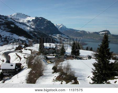 Emmetten Swiss Panarama In Winter