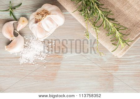 Bunch Of Fresh Of Garden Rosemary On Wooden Table, Rustic Style, Fresh Organic Herbs With Salt And G